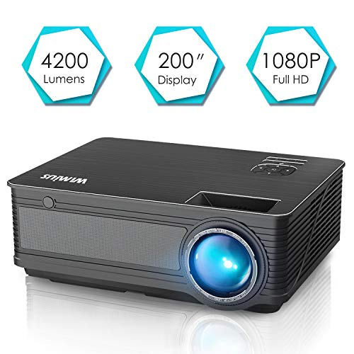 """Videoproiettore,WiMiUS 4200 Lumen LED Proiettore Full HD Supporto 1080P Con 200"""" Display Home Cinema Multimedia Proiettore per iPhone Smartphone Tablet PC Computer con TV/AV/VGA/USB/HDMI (Nero)"""