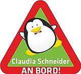 INDIGOS UG® Namensaufkleber / BABY AN BORD - o. Ihr Wunschname - Sticker / Autoaufkleber / Aufkleber - 074 - Pinguine - 15x14 cm - für Kinder, Auto, KfZ, Heckscheibe - individuell bedruckbar