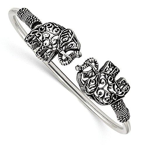 Hermosa pulsera flexible de plata de ley 925 pulida con filigrana envejecida...