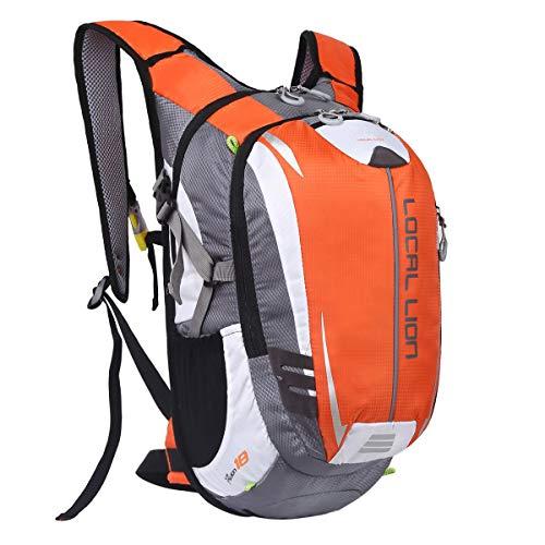 LOCAL LION Fahrradrucksack Trinkrucksack Reiserucksack Sportrucksack Tagesrucksack Alltags Daypacks Backpack Outdoor Ultraleicht Unisex 18L, Orange…