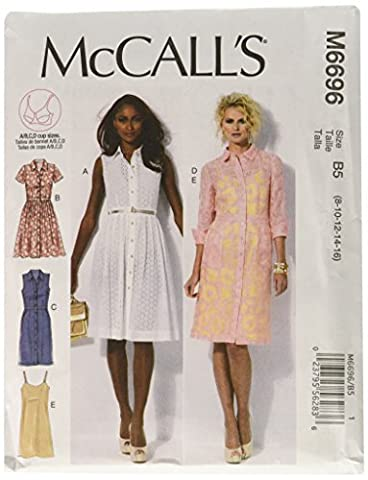 McCall's Patterns M6696 Size B5 8-10-12-14-16 Misses' Dresses and Slip, Pack of 1, White