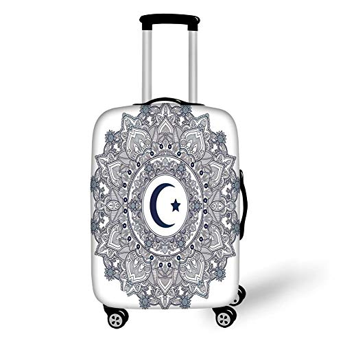 Travel Luggage Cover Suitcase Protector,Moon,Arabesque Symbol Eastern Design Religious Celebration Vintage Circle Pattern,Dark Blue Teal White,for Travel L