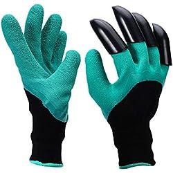 slzz Garten Genie Handschuhe–Outdoor Arbeit Wasserdicht Atmungsaktiv Handschuh–Gummi Latex Polyester Builders Garten Arbeit Genie Handschuhe mit 4Krallen–Für Graben & Bepflanzen Kompostierung