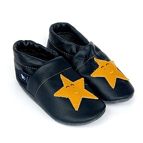 pantau.eu Kinder Lederpuschen Krabbelschuhe Lauflernschuhe Hausschuhe mit Sternen BLAU_GELB