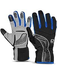 4ucycling Warm térmica Fleece Gloves Guantes Touch–Bicicleta Guantes Ciclismo guantes de pantalla táctil, Schwaz&Blau
