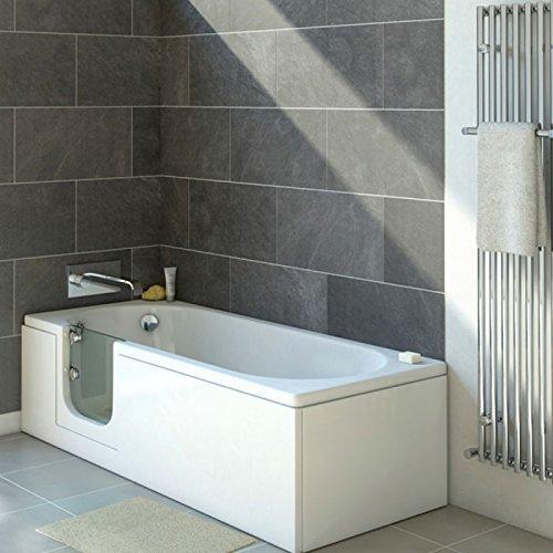 Senioren Badewanne mit Tür CASCADE 150×70 cm L komplett mit Schürze und Ablauf