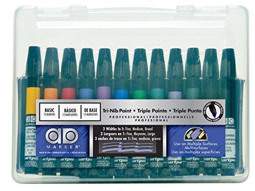 Chartpak Ad Marker, tri-nib, 25verschiedene Art Director Farben in Tisch Cube, je 1(K) Tragehülle, Plastik 12 Assorted Basic Colors multi