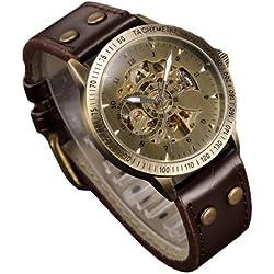 K9Q Men Vintage Automatic Mechanical Bronze Skeleton Leather Analog Wrists Watch