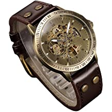 E9Q hombres de la vendimia mecánica de bronce automático esquelético análogo de del reloj