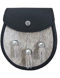 Weiß goldfürbige Distel-Schnalle Leder Trommler-Umhängegurt für Kilts