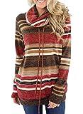 Dokotoo Femme Casual Pull Hoodie Sweat Shirt à Manche Longue Col Roulé Hiver S-XXL, A-bordeaux, M(EU40-42)...