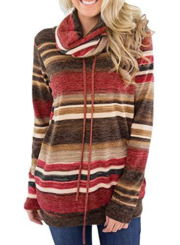 Dokotoo Femme Casual Pull Hoodie Sweat Shirt à Manche Longue Col Roulé Hiver S-XXL, A-bordeaux, M(EU40-42)