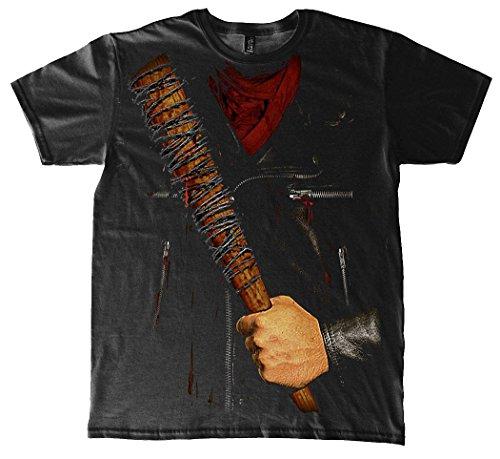 Daryl Kostüm Walking Dead (The Walking Dead T-Shirt Negan Kostüm, Schwarz aus Baumwolle)