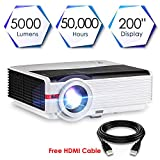 CAIWEI LED LCD Projector HD 5000 Lumens, WXGA Home Cinema Theater Projector 1080p 720p Support, Multimedia Movie Projector With HDMI Cable Built in Speaker Remote for Laptop Smartphone Xbox TV DVD PS4