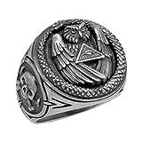 Illuminati Sterling Silber 925All Seeing Eye Pyramide Schlange Eule Freimaurer Skull Biker Herren Ring - 61 (19.4)