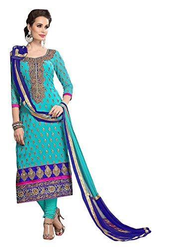 Tryme Fashion Women\'s Cotton Salwar Suit Dress Material (SalvarSuit_Chanderi_Turquoise)