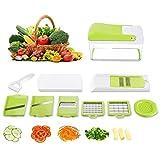 HOMMINI 10 in 1 Gemüseschneider Gemüse, 7 austauschbare Edelstahlklingen Gemüsereibe & Julienne Slicer Cutter, Mutil-Funktion Küche Manuelle Food Shredder für Obst, Zwiebel, Karotte, Tomate