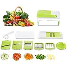 HOMMINI Cortador Verduras, 8 en 1 Mandolina de cocina, Multifunción 6 Cuchillas reemplazables acero inoxidable, Cortador manual para frutas, cebolla, zanahoria, tomate, queso y calabacín