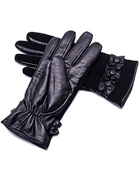 YISEVEN Guanti lunghi femminili in pelle foderata per la party d'inverno, guanti pelle di capra australiana/Touchscreen...