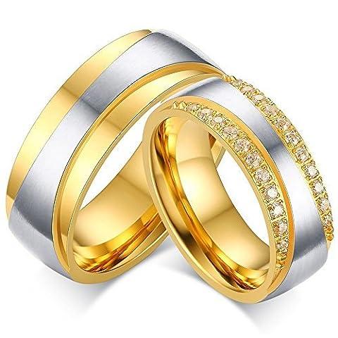 BOBIJOO Jewelry - Alliance Bague Acier Plaqué Or jaune Zirconium Strass Mariage Fiançaille Couple Au choix - 60 (9 US), Homme