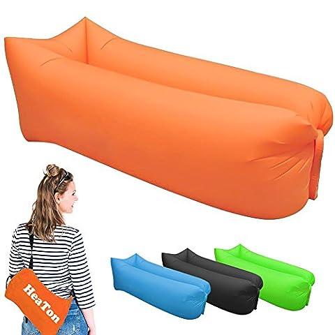 Canapé à Air, Air Sofa Canapé gonflable imperméable à l'eau, canapé à air portable avec sac à main, Sécurisation de l'abreuvoir et des bouteilles pour les voyages, le camping, la randonnée, la piscine et les Beach Parties (Orange)