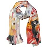 Wrapables Luxurious 100% Charmeuse Silk Floral Painting Long Scarf With Hand Rolled Edges - B00MC33WB2