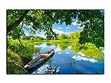 Alu-Dibond Bild Frühlingstag am See mit Boot in der Natur ALB00674 Butlerfinish® 60 x 40 cm, Wandbild Edel gebürstete Aluminium-Verbundplatte, Metall effekt Eyecatcher!