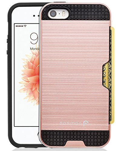 iPhone SE coque, Fosmon (HYBO-SLOT) Slim Hybride Hard Cover [Choc Absorbant | fente pour carte] Portefeuille Case couverture de cas pour Apple iPhone SE / 5S / 5 - Noir Rose Gold