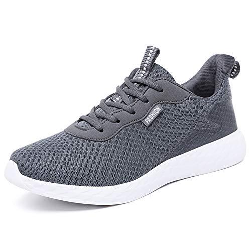 JIANKE Leichte Laufschuhe Herren Atmungsaktiv Turnschuhe Casual Sportschuhe Running Outdoor Sneakers Dunkelgrau 45 EU(Etikettengröße 46)