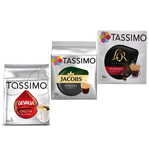 Tassimo Espresso Wake-Up Set: Jacobs, Gevalia, L´Or, Kaffee, Kaffeekapsel, 3er Pack, 3 x 16 T-Discs