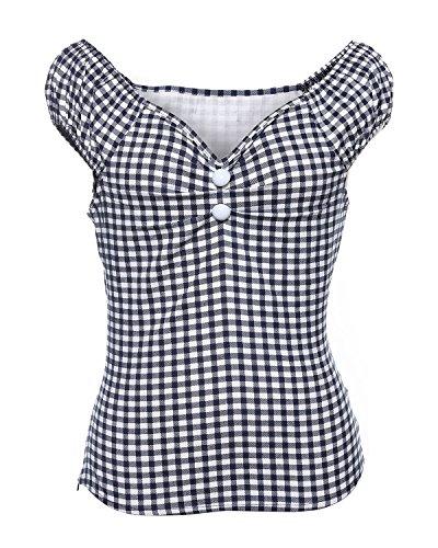 ZAFUL Damen 50s Blusenshirt Retro Sommer Top Pinup Kurz T Shirts mit Puffärmeln-Marine Blau-S (Top Marine-blau-t-shirt)