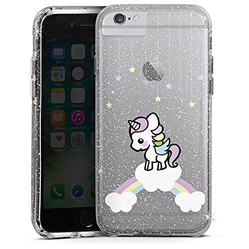 Apple iPhone 6 Plus Bumper Hülle Bumper Case Glitzer Hülle Motiv ohne Hintergrund Einhorn Unicorn Bumper Case Glitzer silber
