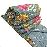 Indian Cotton Blend Grey Kantha Quilt Bedspread Handcrafted Reversible Bedshe...