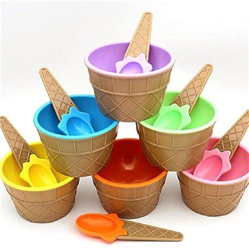 12 PCS Tazón de helado con cuchara Cute plástico...