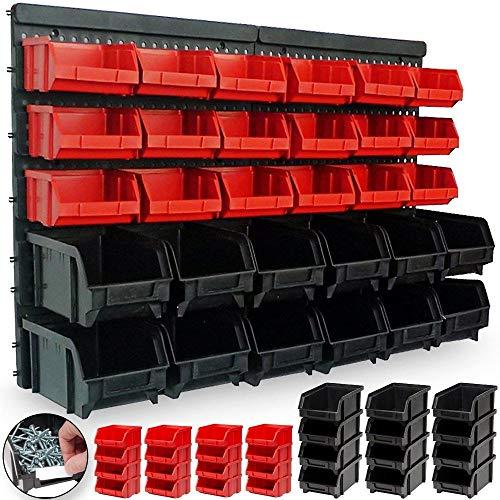 Bakaji pannello da parete con 32 box portautensili contenitori attrezzi officina porta utensili minuteria da garage 65x38cm montaggio a muro