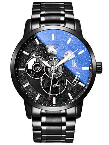 Alienwork Herren Damen mechanische Automatik-Uhr schwarz mit Edelstahl Metallarmband Skelett
