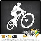 Mountainbiker MTB Downhill 10 x 10 cm IN 15 FARBEN - Neon + Chrom! Sticker Aufkleber