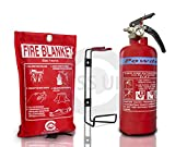 BRITISH STANDARD KITEMARKED FSS UK 600G ABC DRY POWDER FIRE EXTINGUISHER WITH CE MARKED FIRE BLANKET. IDEAL FOR BOATS HOMES KITCHEN WORKPLACE OFFICES WAREHOUSES GARAGES HOTELS RESTAURANTS