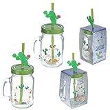 Puckator Cactus Boccali Barattolo con Tappo e Cannuccia con Miniatura, Trasparente/Verde