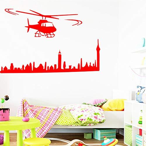 Hubschrauber Wandaufkleber Stadt für Wohnzimmer Mann Hintergrund Vinyl Wasserdichte Aufkleber Selbstklebende Wandkunst Zubehör DIY 96X58CM