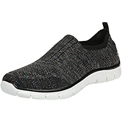 Skechers Womens Empire - Round Up Black Multi Fabric Trainers 38 EU