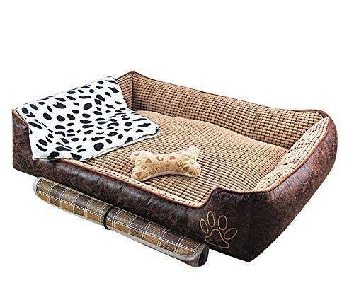 Guocu cuccia per animali lavabile con cuscino impermeabile corticale durevole cuccia per cane sofà quattro stagioni disponibili marrone set m