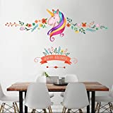 Bodhi2000® Unicorn Wall Sticker Mural Art Decor For Kids Children Bedroom Living Room TV Backdrop Decorartion