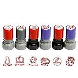 MyLifeUNIT Tampons auto-encreurs photosensibles, en caoutchouc, permettent aux enseignants d'encourager les enfants (version anglaise) 25 mm*25 mm*65 mm Red