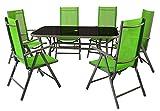 Nexos 7-teiliges Gartenmöbel-Set – Gartengarnitur Sitzgruppe Sitzgarnitur aus Gartenstühlen & Esstisch – Aluminium Kunststoff Glas – grün