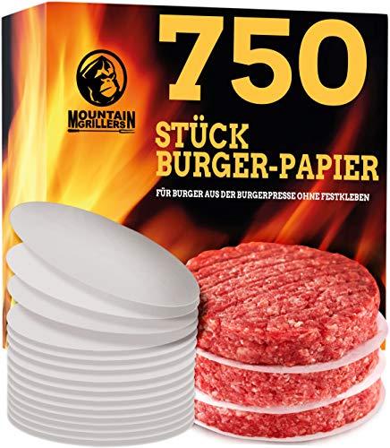Mountain Grillers Burgerpapier (x750 STK.) | Antihaftes Trennpapier mit 11,5 cm Durchmesser für perfekte Hamburger, Cheeseburger, Patties | Wachspapier Antihaftpapier Backpapier Grillzubehör