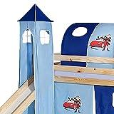IDIMEX Turm Auto zu Bett mit Rutsche, Spielbett, Rutschbett, Kinderbett in hellblau/dunkelblau