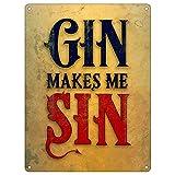 Real Slick Tees Mini-Blechschild Gin Makes Me Sin
