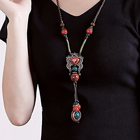 Manufacturers selling Korean winter leather rope ceramic pendants sweater chain long folk style women's sweater chain