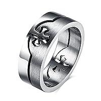 Lekima Ring Engraved Flower Pattern Simple Crucifix Cross Biker Stainless Steel Jewellery Gift Man - Silver Black #O (Gift Bag Included)